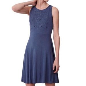 Loft, blue, eyelet bodice, sleeveless dress